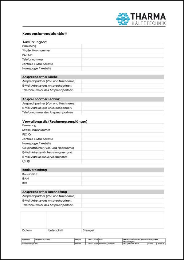 Kundenstammdatenblatt Tharma
