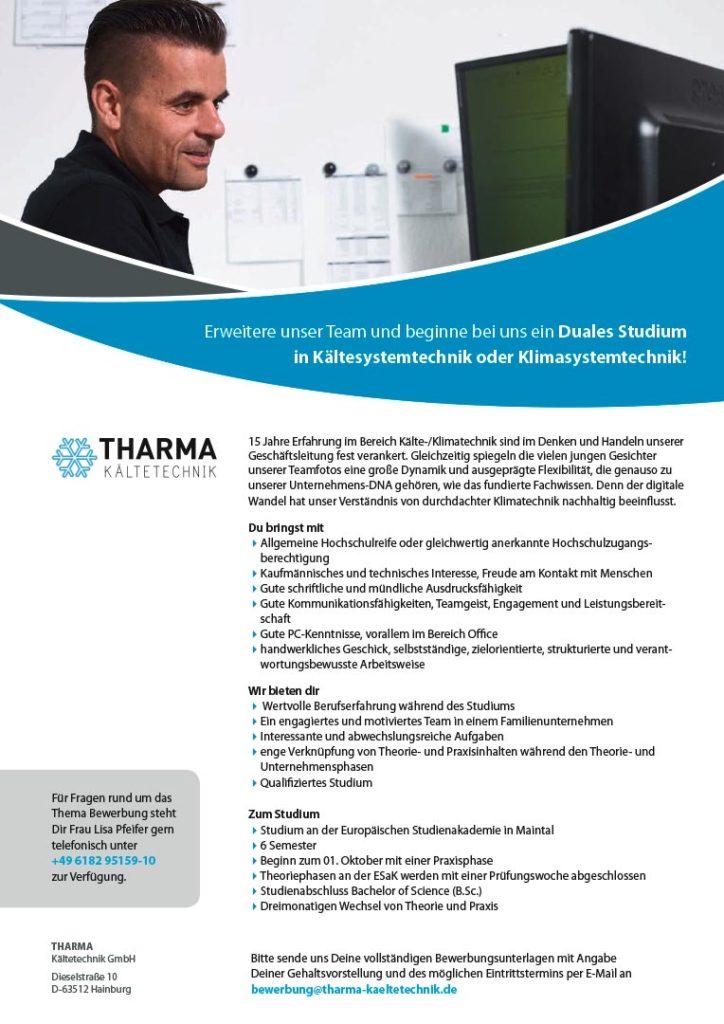 Tharma Stellenanzeige Duales Studium Kaeltesystemtechnik oder Klimasystemtechnik